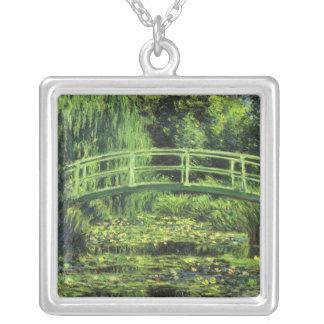 Vintage Impressionism, White Waterlilies by Monet Square Pendant Necklace