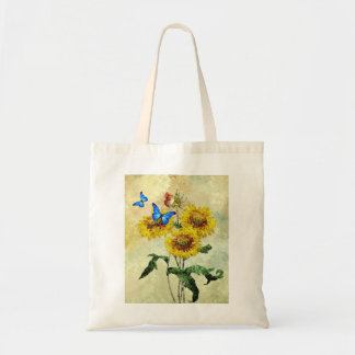 Vintage Impressionist Sunflowers and Butterflies Tote Bag