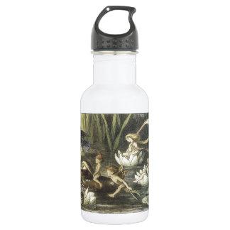 Vintage In Fairyland,1870 Fairies And Waterlilies 18oz Water Bottle