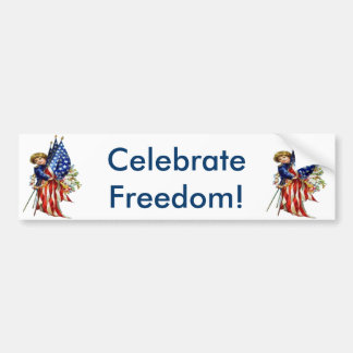 Vintage Independence and Freedom Bumper Sticker