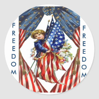 Vintage Independence and Freedom Classic Round Sticker