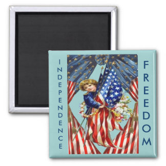Vintage Independence and Freedom Fridge Magnets