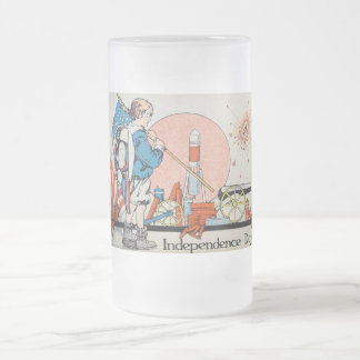 Vintage Independence Day / 4th of July Frosted Glass Beer Mug