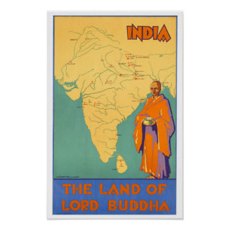Vintage India Land of Lord Buddha Print