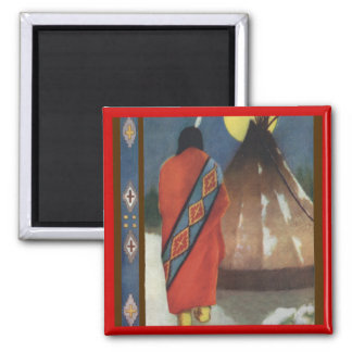 Vintage Indian and Teepee Refrigerator Magnets