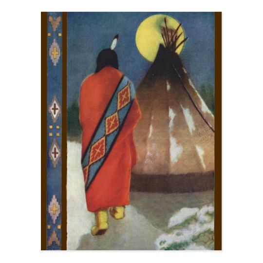Vintage Indian and Teepee Postcard
