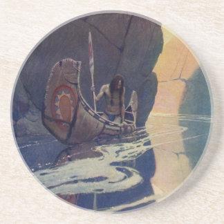 Vintage Indian Canoe Paddling with Sun Symbol Beverage Coaster