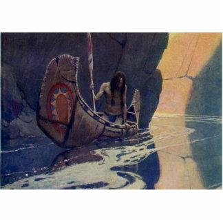 Vintage Indian Canoe Paddling with Sun Symbol Cutout