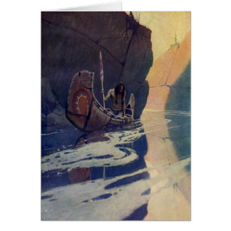 Vintage Indian Canoe Paddling with Sun Symbol Greeting Card