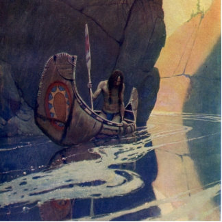 Vintage Indian Canoe Paddling with Sun Symbol Photo Cutout