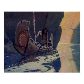 Vintage Indian Canoe Paddling with Sun Symbol Poster