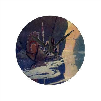 Vintage Indian Canoe Paddling with Sun Symbol Round Clock