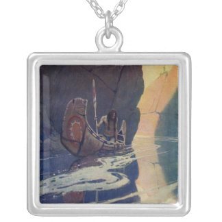 Vintage Indian Canoe Paddling with Sun Symbol Silver Plated Necklace