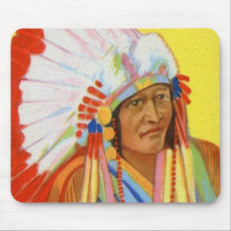 Vintage Indian Chewing Gum Chief Weasel Calf Mouse Pad