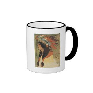 Vintage Indian Girl Ringer Coffee Mug