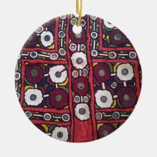 Vintage Indian Handmade Textile Print Ceramic Ornament