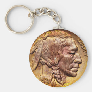 Vintage Indian Head Nickel Coin Collector Keychain