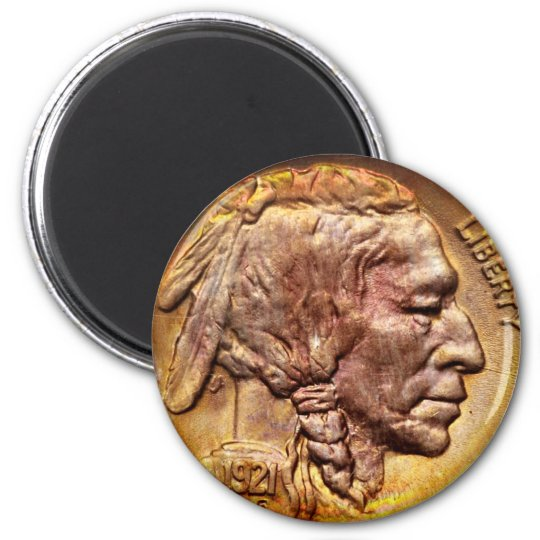 Vintage Indian Head Nickel Coin Collector Magnet