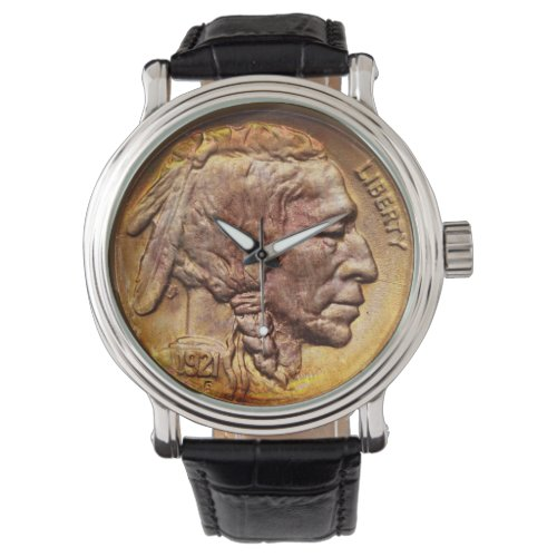 Vintage Indian Head Nickel Coin Native American Wrist Watch
