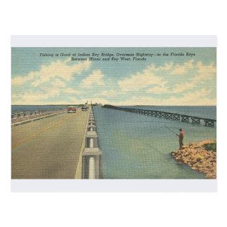 Vintage Indian Key Bridge Florida Keys Postcard
