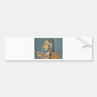 VINTAGE INDIAN LADY WITH NOSE RING PAINTING BUMPER STICKER