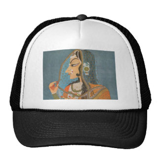 VINTAGE INDIAN LADY WITH NOSE RING PAINTING MESH HATS