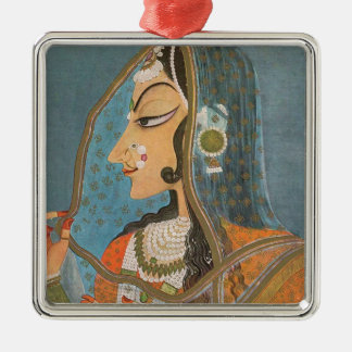 VINTAGE INDIAN LADY WITH NOSE RING PAINTING METAL ORNAMENT