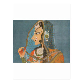 VINTAGE INDIAN LADY WITH NOSE RING PAINTING POSTCARD