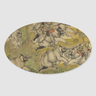 VINTAGE INDIAN PAINTING - WARFARE ON ELEPHANTS OVAL STICKER