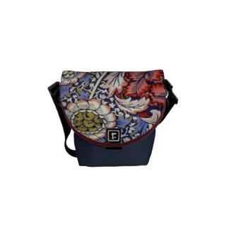 Vintage Indian Red Blue Flower Pattern Messenger Bag