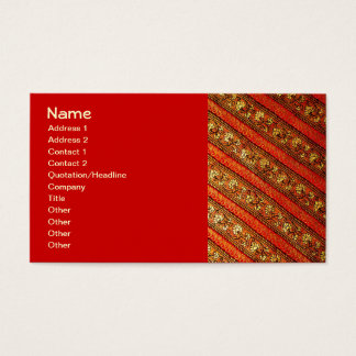 Vintage Indian Red Gold & Silk Floral Pattern Business Card