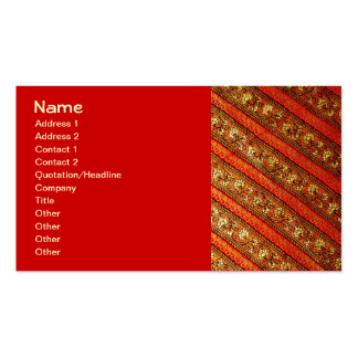 Vintage Indian Red Gold & Silk Floral Pattern Double-Sided Standard Business Cards (Pack Of 100)