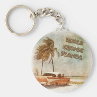 Vintage Indian Shores Beach Scene Keychain