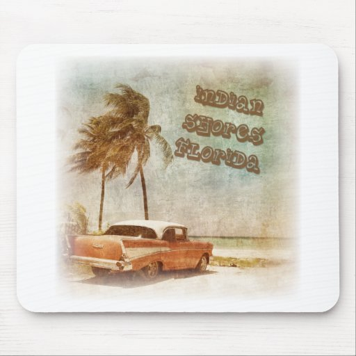 Vintage Indian Shores Beach Scene Mouse Pad