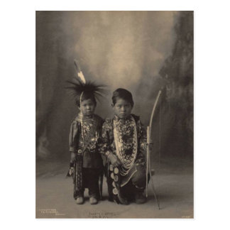 Vintage indian : Two Little Braves, Sac & Fox - Post Card
