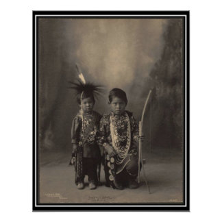 Vintage indian : Two Little Braves, Sac & Fox - Poster