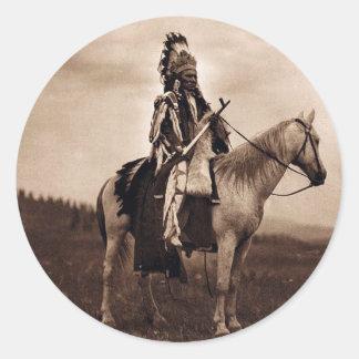Vintage Indian War Chief Classic Round Sticker