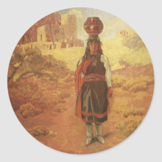 Vintage Indian Water Carrier by EW Rollins Classic Round Sticker