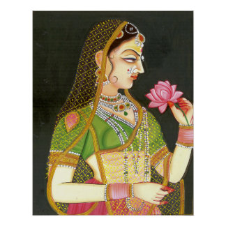 Vintage Indian Woman, Mughal Art Poster