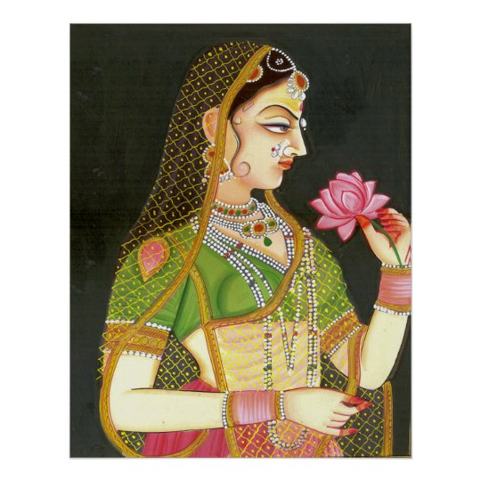 Vintage Indian Woman Mughal Art Poster Zazzle Com