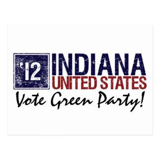 Vintage Indiana del Partido Verde del voto en 2012 Tarjeta Postal