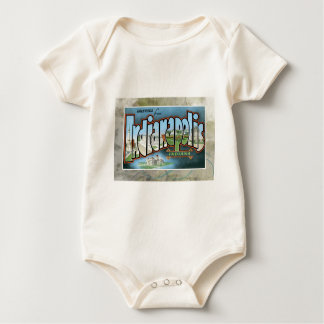 Vintage Indianapolis Indiana Greetings Post Card Baby Bodysuit