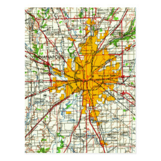 Vintage Indianapolis Map Postcard