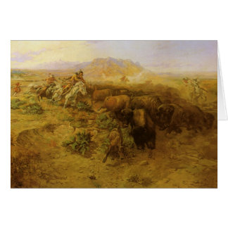 Vintage Indians, Buffalo Hunt by CM Russell Card