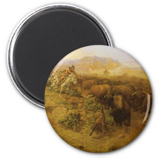 METAL FRIDGE MAGNET Buffalo Hunt Horse Bow Arrow Native American Indian