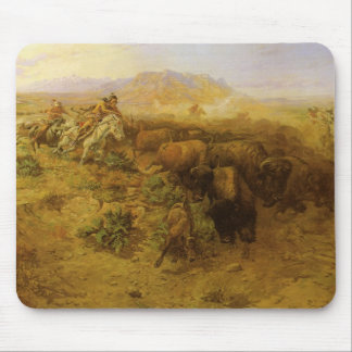 Vintage Indians, Buffalo Hunt by CM Russell Mouse Pad
