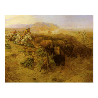 Vintage Indians, Buffalo Hunt by CM Russell Postcard
