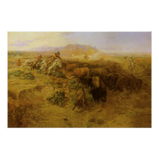 Vintage Indians, Buffalo Hunt by CM Russell Poster