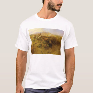 Vintage Indians, Buffalo Hunt by CM Russell T-Shirt