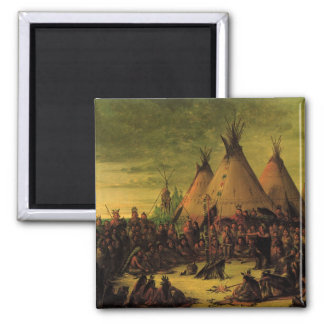 Vintage Indians, Sioux War Council by Catlin 2 Inch Square Magnet